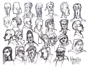 A series of sketches of people riding muni.